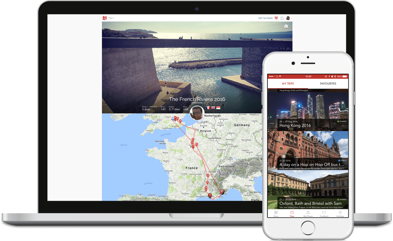 Esplorio travel journal and diary, on web and iPhone